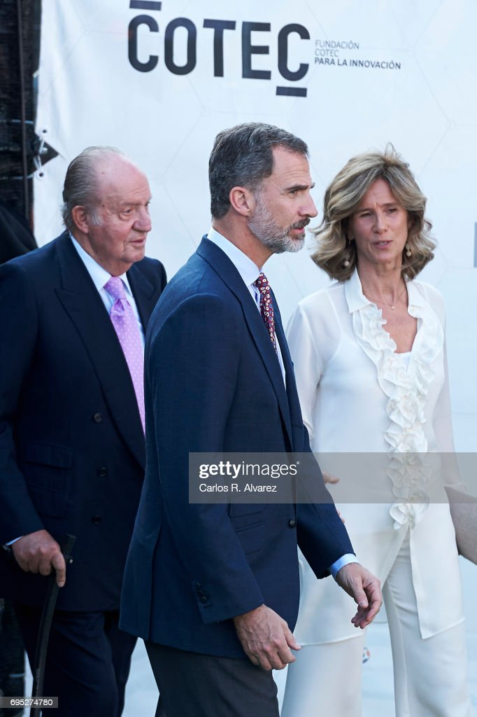 President of COTEC Foundation Cristina Garmendia (R) King Juan Carlos (L) and King Felipe VI of Spain (C) attend COTECT event at the Vicente Calderon Stadium on June 12, 2017 in Madrid, Spain.