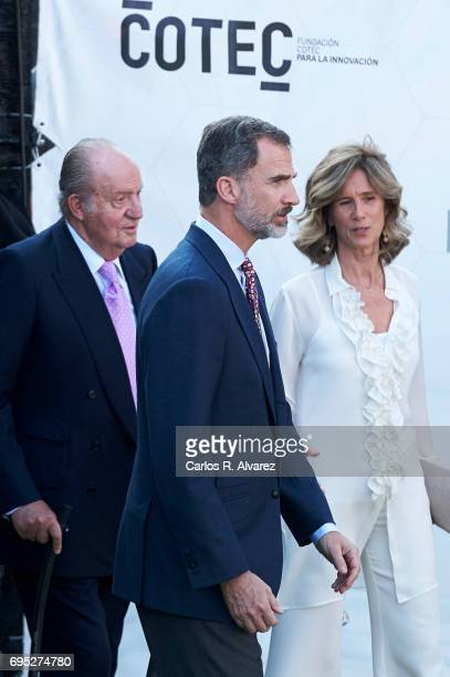 President of COTEC Foundation Cristina Garmendia King Juan Carlos and King Felipe VI of Spain attend COTECT event at the Vicente Calderon Stadium on...