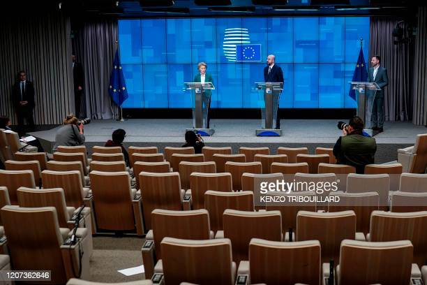 EU President of Council Charles Michel and European Commission President Ursula von der Leyen give a joint press conference after a G7 Leaders'...
