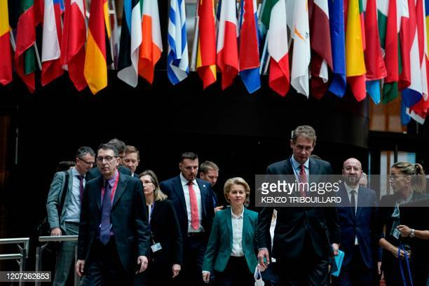 EU President of Council Charles Michel and European Commission President Ursula von der Leyen arrive to give a joint press conference after a G7...