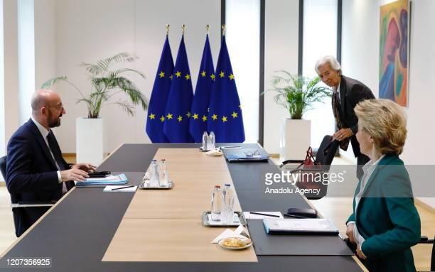 President of Council Charles Michel , European Commission President Ursula von der Leyen and Christine Lagarde , President of the European Central...