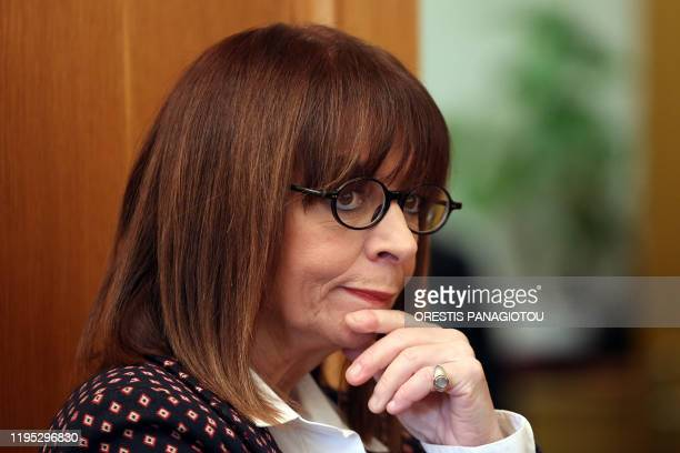 President of Council of State Katerina Sakellaropoulou looks on as the President of the Greek Parliament presents the result of a parliament vote for...