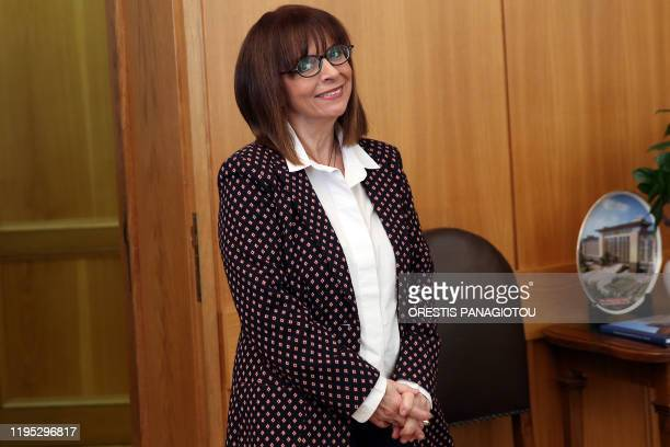 President of Council of State Katerina Sakellaropoulou poses for pictures after the result of a parliament vote for the election of the new President...
