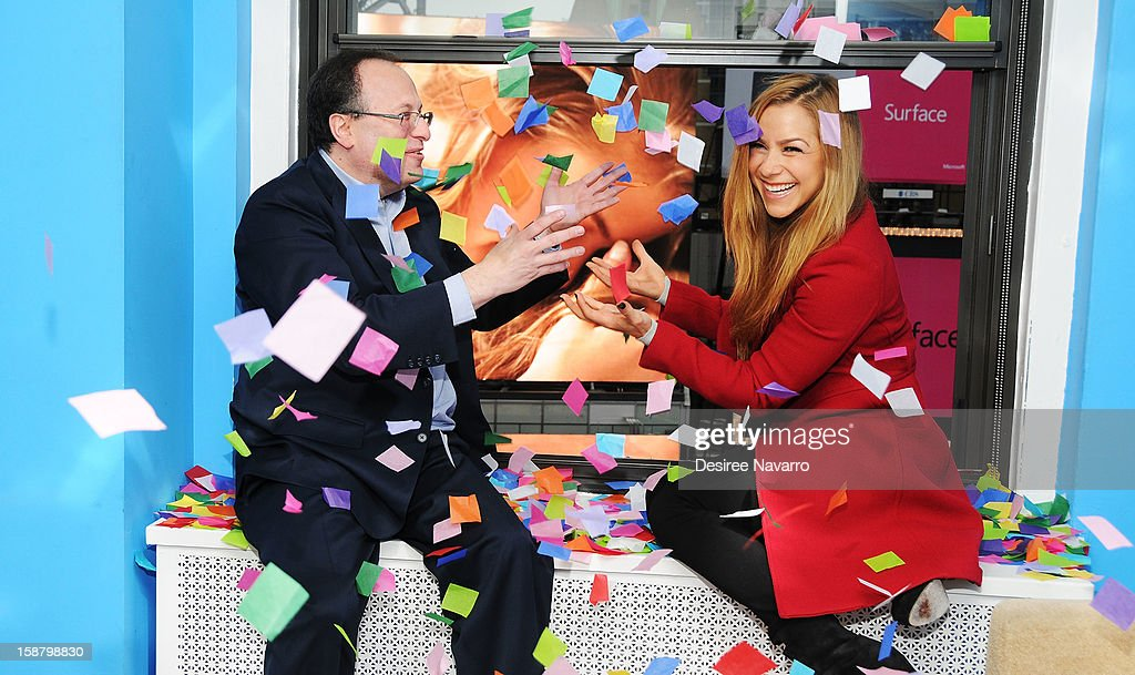 President of Countdown Entertainment Jeff Straus and TV Personality Allison Hagendorf particpate in the New Year's Eve 2013 Confetti Airworthiness Test at Times Square Alliance Building on December 29, 2012 in New York City.
