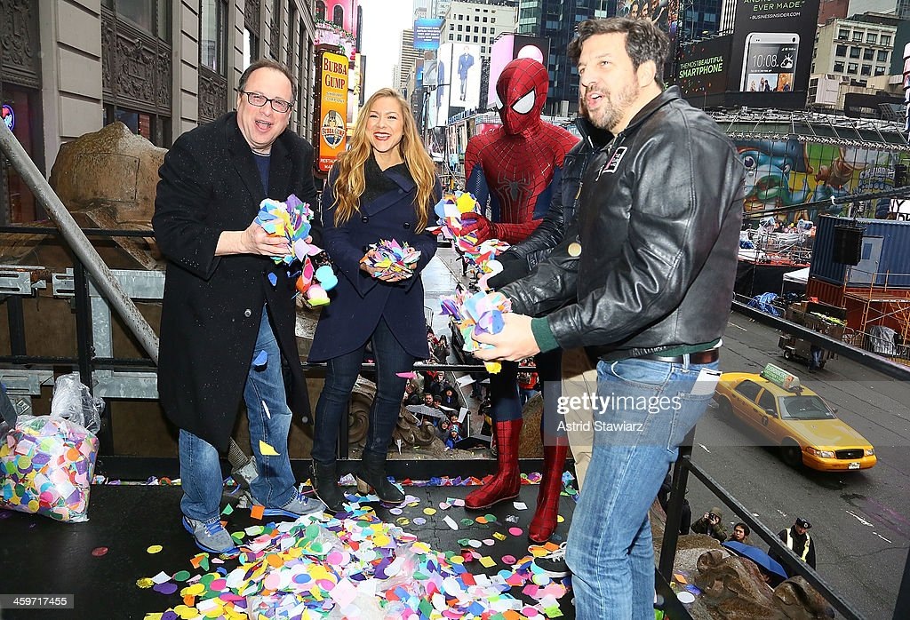 President of Countdown Entertainment, Jeffrey Straus, TV Personality Allison Hagendorf, Spider-Man and President of the Times Square Alliance, Tim Tompkins attend the 2014 New Year's Eve Confetti Test at Hard Rock Cafe, Times Square on December 29, 2013 in New York City.