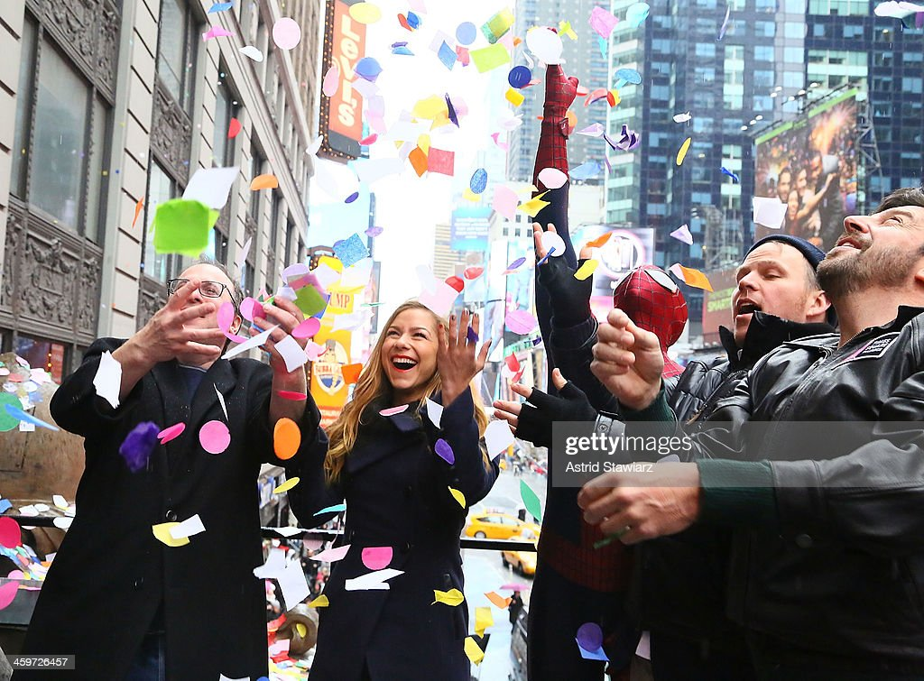 President of Countdown Entertainment, Jeffrey Straus, TV Personality Allison Hagendorf, Spider-Man, director Marc Webb and President of the Times Square Alliance, Tim Tompkins attend the 2014 New Year's Eve Confetti Test at Hard Rock Cafe, Times Square on December 29, 2013 in New York City.