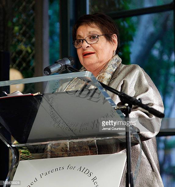 President of CPFA Eileen Mitzman speaks at the Concerned Parents for AIDS Research's sunset cocktail reception hosted by amfAR at the Bryant Park...