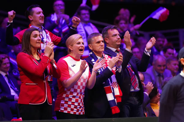 President of Croatia Kolinda Grabar Kitarovic attends Day 2 of the Davis Cup Final 2018 between France and Croatia at Stade Pierre Mauroy on November...