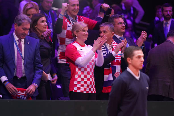 President of Croatia Kolinda Grabar Kitarovic celebrates as her country goes 1-0 ahead during Day 1 of the Davis Cup Final 2018 between France and...