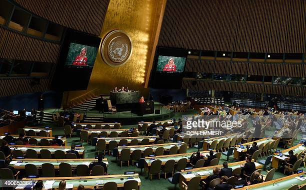 President of Croatia Kolinda GrabarKitarovic addresses the 70th session of the United Nations General Assembly September 30 2015 at the United...