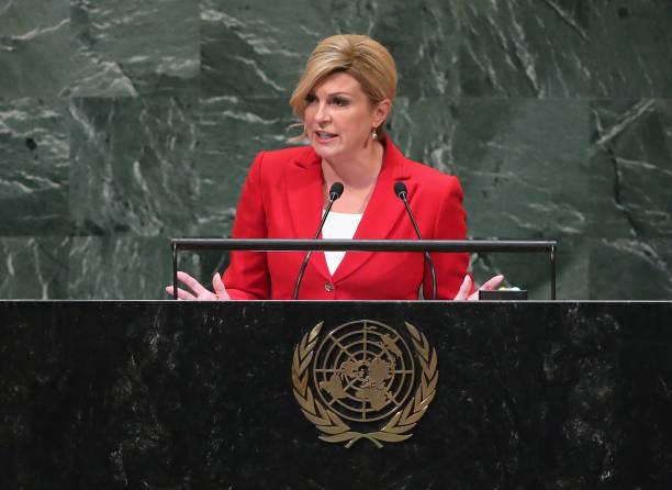 President of Croatia Kolinda Grabar-Kitarovic addresses the United Nations General Assembly on September 26, 2018 in New York City. World leaders are...