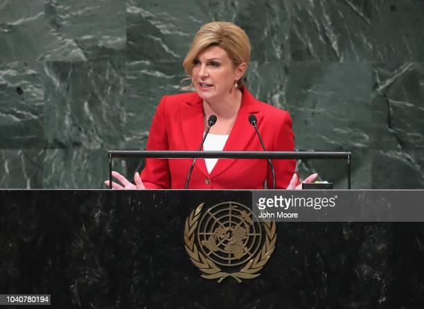 President of Croatia Kolinda GrabarKitarovic addresses the United Nations General Assembly on September 26 2018 in New York City World leaders are...