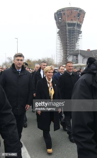 President of Croatia Kolinda GrabarKitarovic and Prime Minister of Croatia Andrej Plenkovic attend the commemoration ceremony on the 26th anniversary...