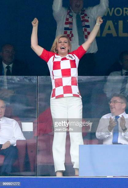 President of Croatia Kolinda GrabarKitarovic celebrates the first goal for Croatia during the 2018 FIFA World Cup Russia Final match between France...