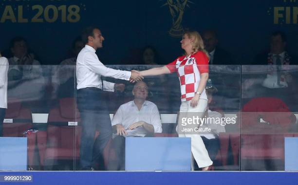 President of Croatia Kolinda GrabarKitarovic celebrates the first goal for Croatia with President of France Emmanuel Macron during the 2018 FIFA...