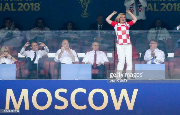 President of Croatia Kolinda GrabarKitarovic celebrates the first goal for Croatia while President of France Emmanuel Macron FIFA President Gianni...