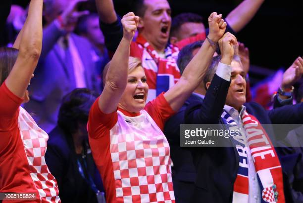 President of Croatia Kolinda GrabarKitarovic celebrates winning the Davis Cup during day 3 of the 2018 Davis Cup final between France and Croatia at...