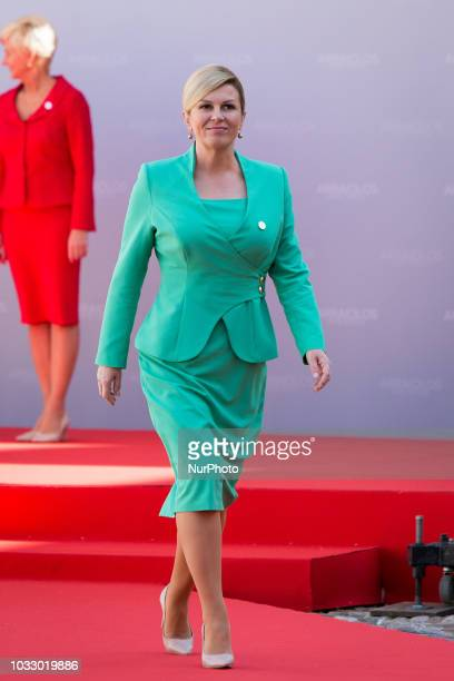 President of Croatia Kolinda GrabarKitarovic during the 14th informal meeting of the Arraiolos Group at Rundale Palace in Rundale Latvia on 13...
