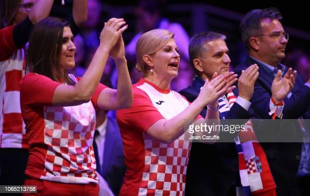 President of Croatian Tennis Association Nikolina Babic President of Croatia Kolinda GrabarKitarovic Goran Maric react during day 3 of the 2018 Davis...