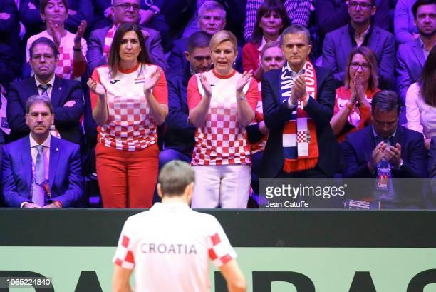 President of Croatian Tennis Association Nikolina Babic President of Croatia Kolinda Grabar Kitarovic Goran Maric cheer for Marin Cilic during day 3...