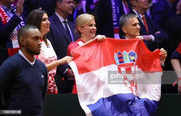 President of Croatian Tennis Association Nikolina Babic President of Croatia Kolinda GrabarKitarovic Goran Maric after winning the Davis Cup on day 3...