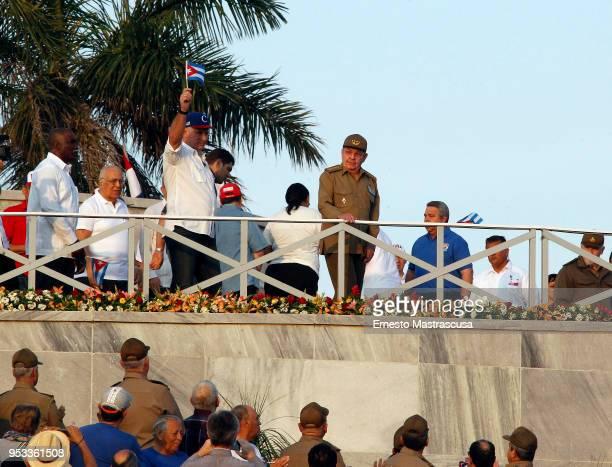 President of Cuba Miguel DíazCanel along with the current first secretary of the Communist Party of Cuba Raúl Castro arrive to the Plaza de la...