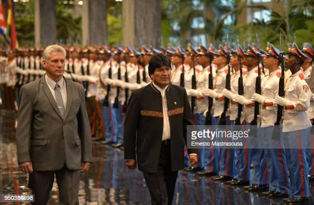 President of Cuba Miguel DíazCanel receives President of Bolivia Evo Morales at Palacio de la Revolucion as part of Morales' official visit to Cuba...