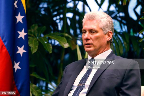 President of Cuba Miguel DíazCanel talks with President of Venezuela Nicolas Maduro on April 21 2018 in Havana Cuba Maduro is the first president to...