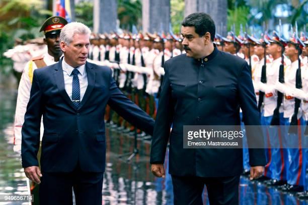 President of Cuba Miguel DíazCanel welcomes President of Venezuela Nicolas Maduro during his official visit to Cuba on April 21 in Havana Cuba...