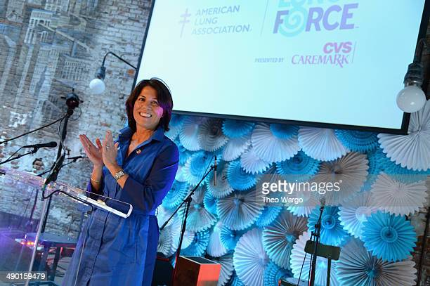 President of CVS Pharmacy Helena Foulkes speaks onstage during the American Lung Association's LUNG FORCE national media kickoff event at Houston...