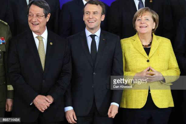President of Cyprus Nicos Anastasiades President of France Emmanuel Macron and Chancellor of Germany Angela Merkel pose for a group photo during the...