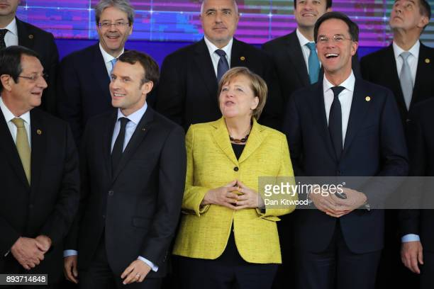 President of Cyprus Nicos Anastasiades President of France Emmanuel Macron Chancellor of Germany Angela Merkel and Prime Minister of Netherlands Mark...
