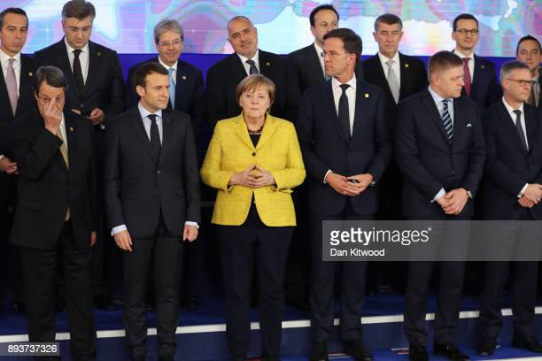 President of Cyprus Nicos Anastasiades President of France Emmanuel Macron Chancellor of Germany Angela Merkel Prime Minister of Netherlands Mark...