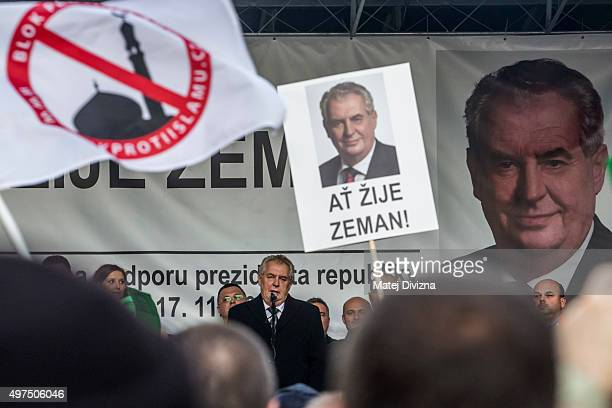 President of Czech Republic Milos Zeman speaks during the antiislam rally on the 26th anniversary of the Velvet Revolution on November 17 2015 in...