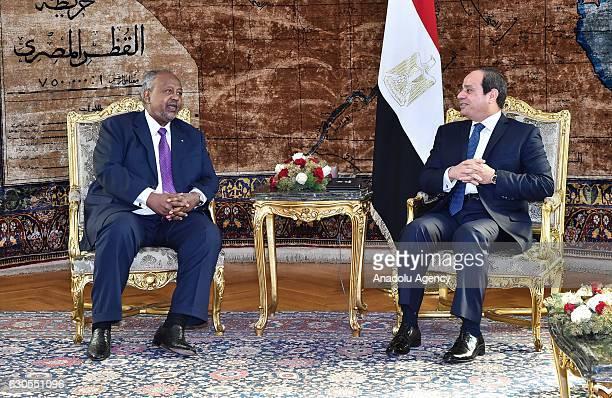 President of Djibouti Ismail Omar Guelleh meets Egyptian President Abdel Fattah el-Sisi during his visit at Ittihadiya Presidential Palace in Cairo,...