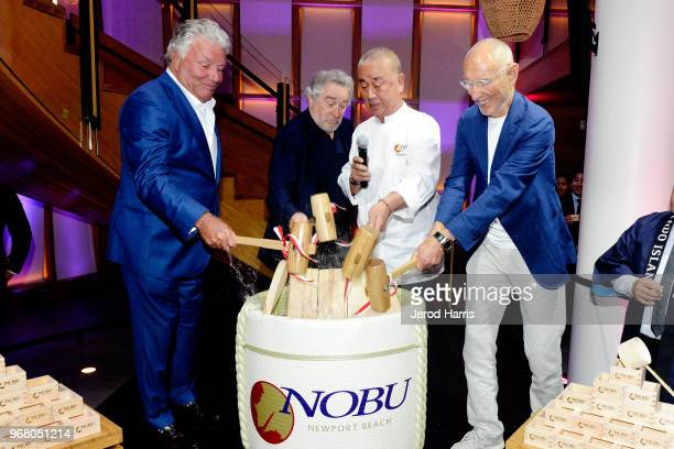 President of DJM Captial Partners Lindsay Parton Robert De Niro Chef Nobu Matsuhisa and John Miller attend Nobu Newport Beach Sake Ceremony at Lido...