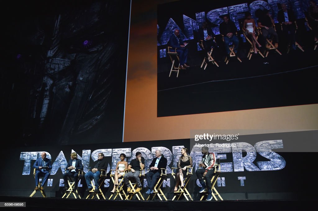 President of Domestic Distribution at Paramount, Kyle Davies, filmmaker Michael Bay, producer Lorenzo di Bonaventura, actors Isabella Moner, Mark Wahlberg, Anthony Hopkins, Laura Haddock and Jerrod Carmichael at CinemaCon 2017 Paramount Pictures Presentation Highlighting Its Summer of 2017 and Beyond at The Colosseum at Caesars Palace during CinemaCon, the official convention of the National Association of Theatre Owners, on March 28, 2017 in Las Vegas, Nevada.