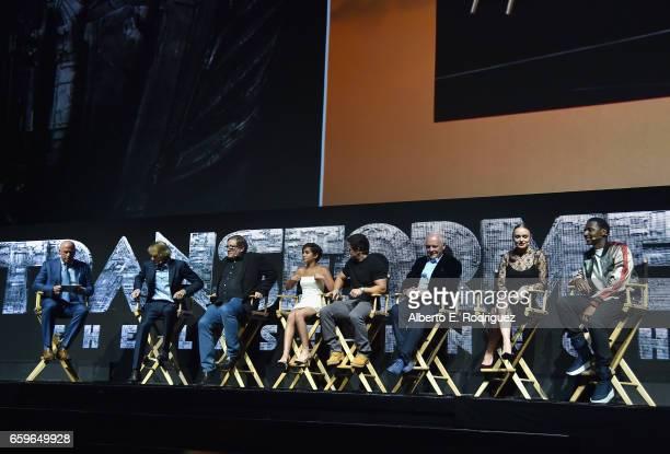 President of Domestic Distribution at Paramount Kyle Davies filmmaker Michael Bay producer Lorenzo di Bonaventura actors Isabella Moner Mark Wahlberg...