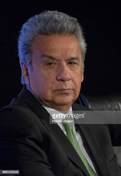 President of Ecuador Lenin Moreno Garces looks on during the Tribuna Americana EFECasa America event as part of his first official visit in Spain on...