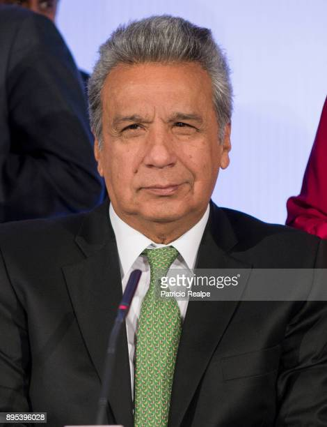 President of Ecuador Lenin Moreno Garces smiles during the Tribuna Americana EFECasa America event as part of his first official visit in Spain on...