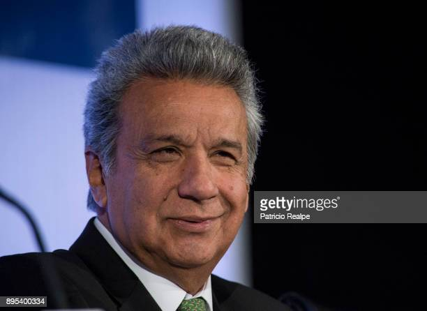 President of Ecuador Lenin Moreno Garces speaks during the Tribuna Americana EFECasa America event as part of his first official visit in Spain on...