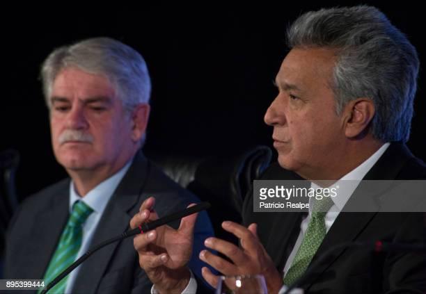 President of Ecuador Lenin Moreno Garces speaks next to Minister of Foreign Affairs of Spain Alfonso Dastis during the Tribuna Americana EFECasa...