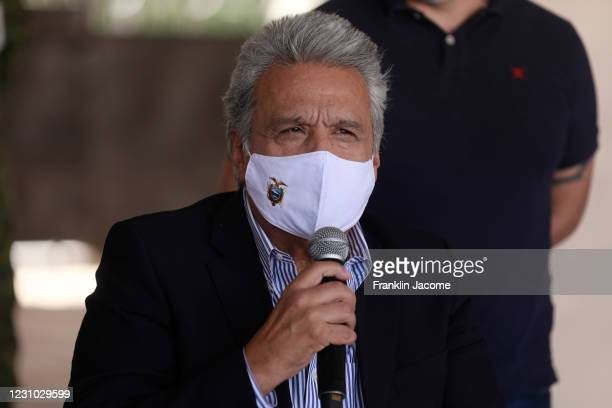 President of Ecuador Lenin Moreno Garcés speaks during a press conference after voting at the Rumipamba Educational Unit on February 7, 2021 in...