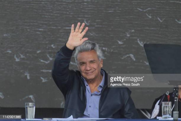 President of Ecuador Lenin Moreno gestures during the presentation of the plan 'Agua Para Todos' on April 11 2019 in Latacunga Ecuador Wikileaks...