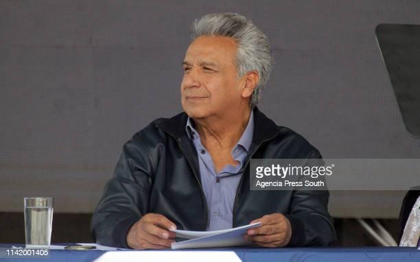 President of Ecuador Lenin Moreno looks on during the presentation of the plan 'Agua Para Todos' on April 11 2019 in Latacunga Ecuador Wikileaks...