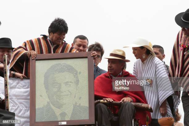 President of Ecuador Lenin Moreno receives the ceremonial staff of indigenous leaders in the archaeological park of Cochasquí an area considered...