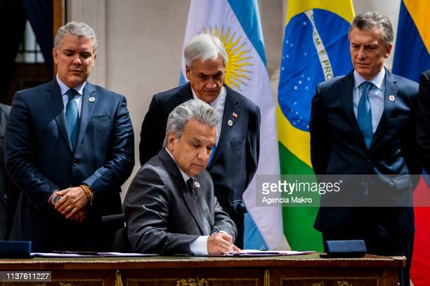 President of Ecuador Lenin Moreno signs the agreement of Santiago after the Meeting of Presidents of South America also called ProSur on March 22...