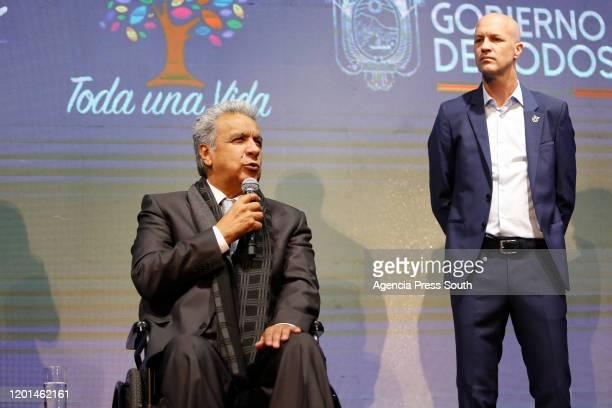 President of Ecuador Lenin Moreno talks during the presentation of Jordi Cruyff as new head coach of Ecuador at Casa de La Seleccion on January 14,...