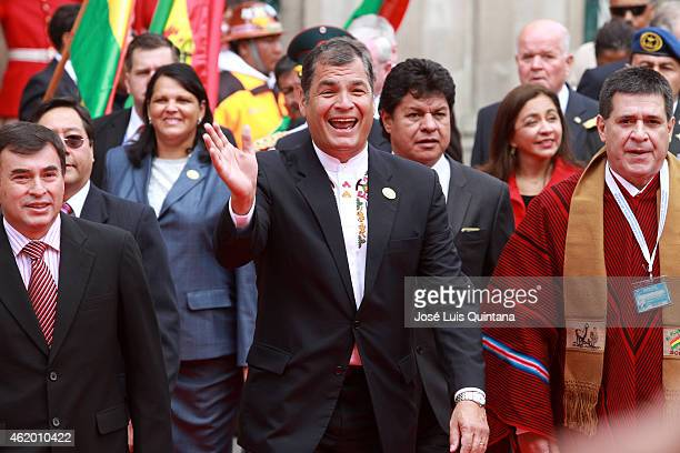 President of Ecuador Rafael Correa and President of Paraguay Horacio Cartes accompanied by Bolivia's Minister of the Presidency Juan Ramon Quintana...