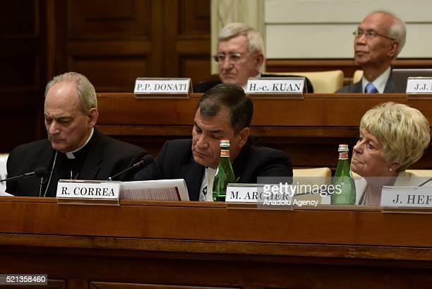 President of Ecuador Rafael Correa attends the 'Centesimus Annus 25 Years Later Symposium' at the Casina Pio IV in Vatican City, Vatican on April 15,...